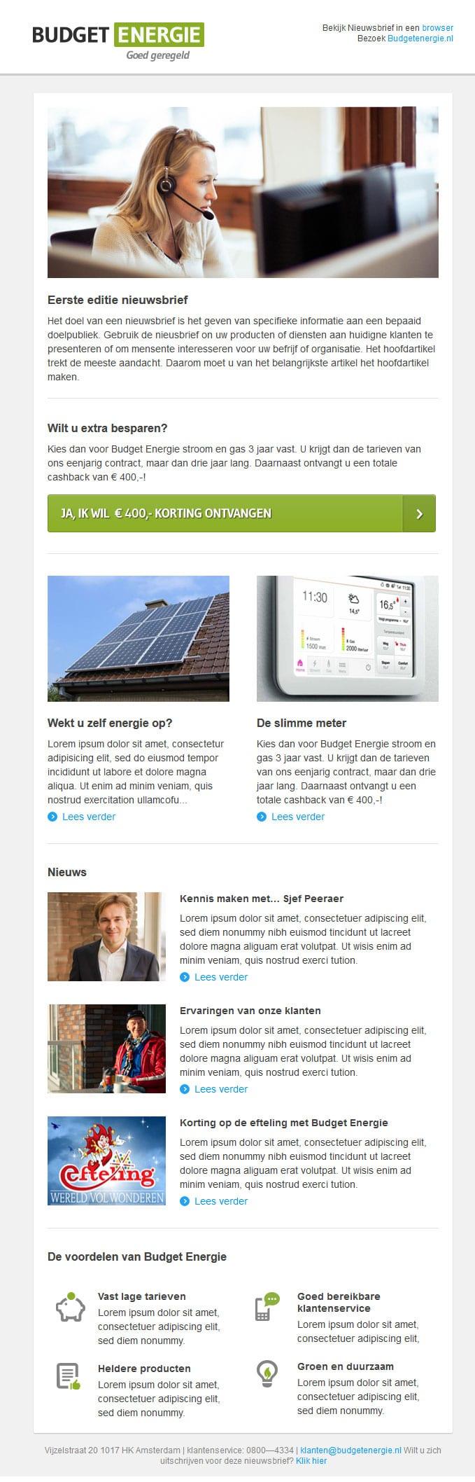 HTML Slicing nieuwsbrief voor Budget Energie