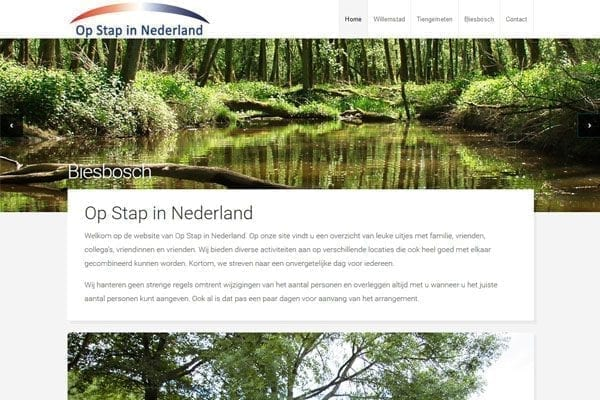 HTML Slicing voor website Op stap in Nederland